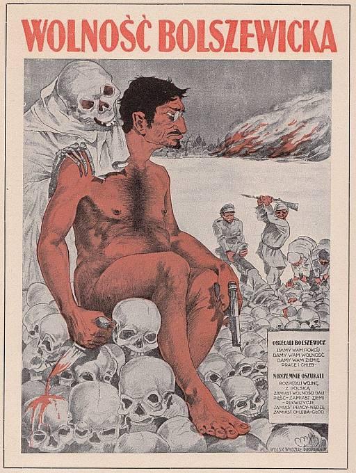 Polský plakát zobrazující Trockého jako vraha za sovětsko-polské války