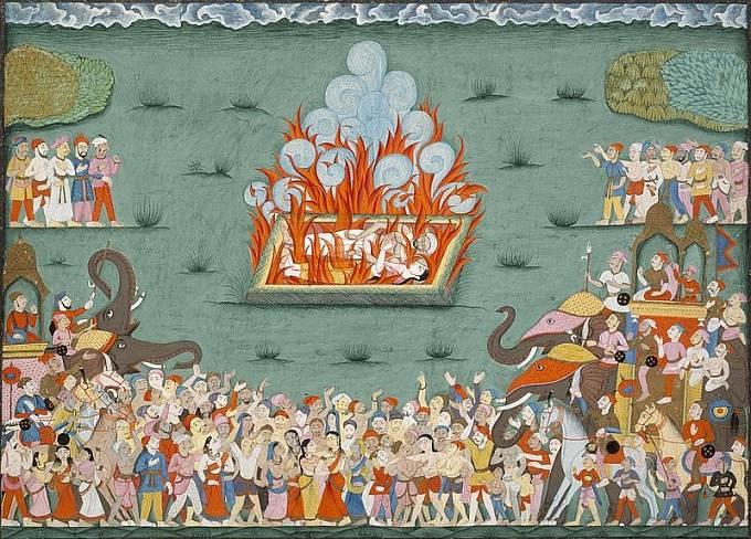 Obřad Satí na historické malbě