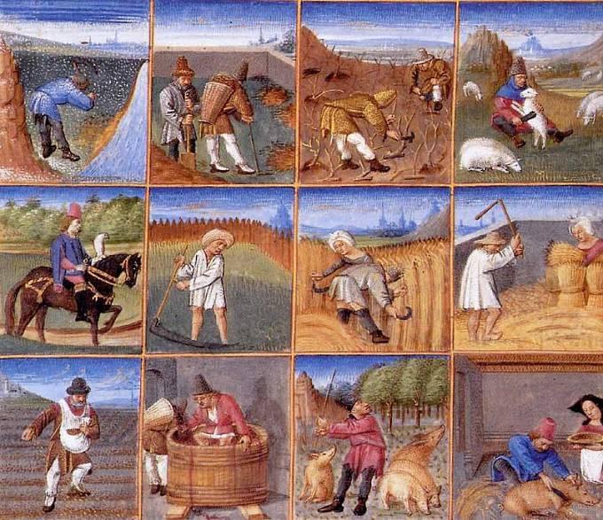 Agrikulturní kalendář k rukopisu Ruralia commoda ze 14. století