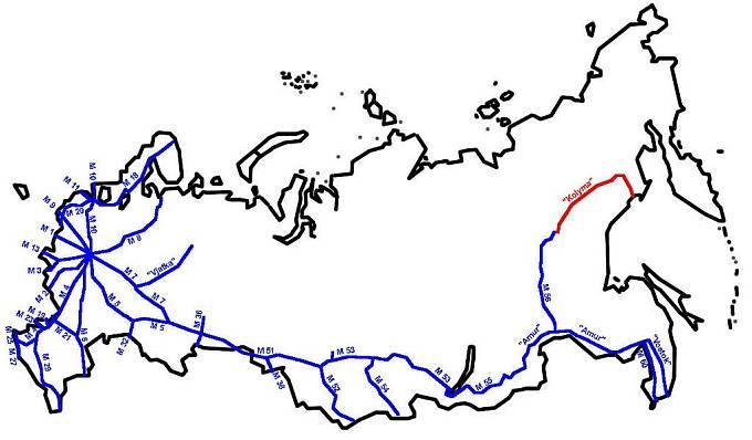 Zobrazení silnice Kolyma na mapě Ruské federace