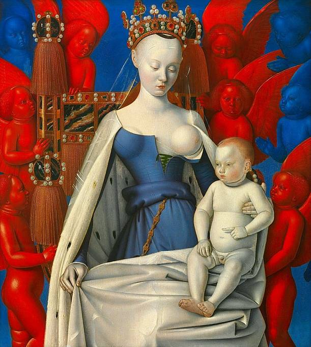 Agnès Sorel, která prý přišla nahoře bez i k soudu, stála modelem malíři Jeanu Fouquetovi (asi 1450)