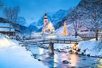 Zimní krajina v Berchtesgadenu, kde Hitler slavil vánoční svátky