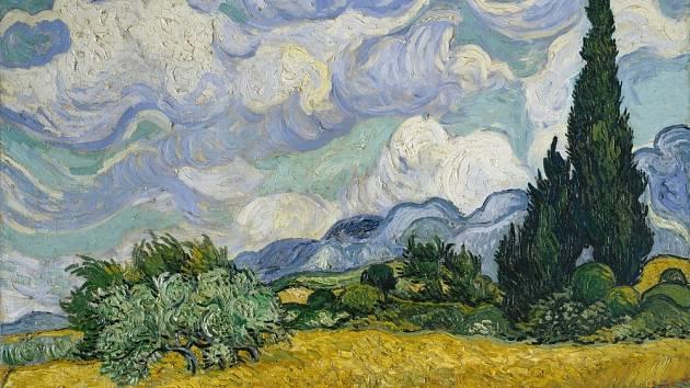 Pšeničné pole s cypřiši - Vincent van Gogh