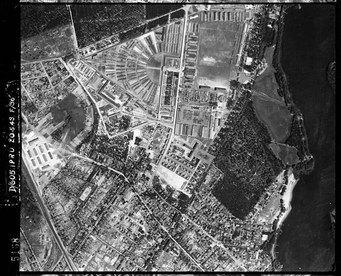 """Letecký snímek koncentračního tábora Sachsenhausen. Ilse Koch tam roku 1936 započala """"kariéru"""" nacistické dozorkyně."""