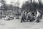 Vyčerpaní vězni v Bergen-Belsenu vynášejí mrtvá těla.
