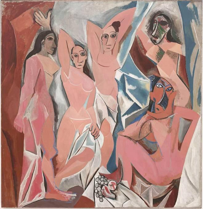 Picassův obraz Avignonské slečny. Dílo zobrazuje pět nahých prostitutek z nevěstince v ulici Avinyó v Barceloně.