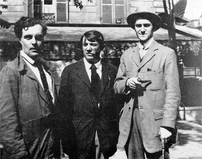 Amedeo Clemente Modigliani (italský malíř a sochař židovského původu), Pablo Picasso a André Salmon (francouzský básník, umělecký kritik a spisovatel).