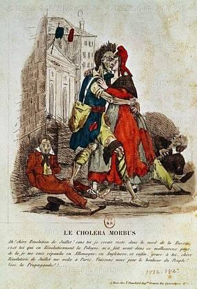 Cholera byla na malířských plátnech nejen personifikována, ale stala se také terčem karikaturistů.
