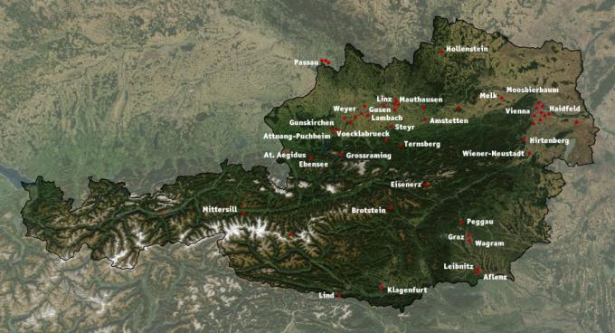 Mapa všech pobočných táborů, které patřily pod koncentrační tábor Mauthausen.