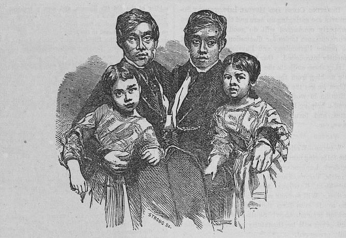 Chang a Eng Bunkerovi se svými dětmi