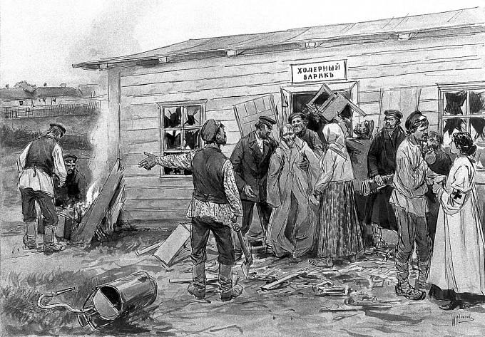 Perokresba I. A. Wladimiroffa zachycující výskyt cholery v Rusku.