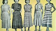 Vzorované letní šaty, k nimž Střihová služba prodávala střihy (1951).