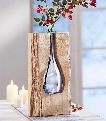 Působivá kombinace skla a dřeva.