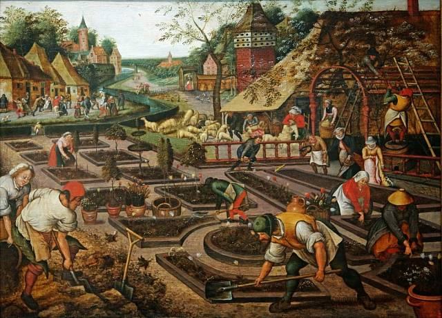 V okolí  Pietera Brueghela se na jaře především pracovalo.