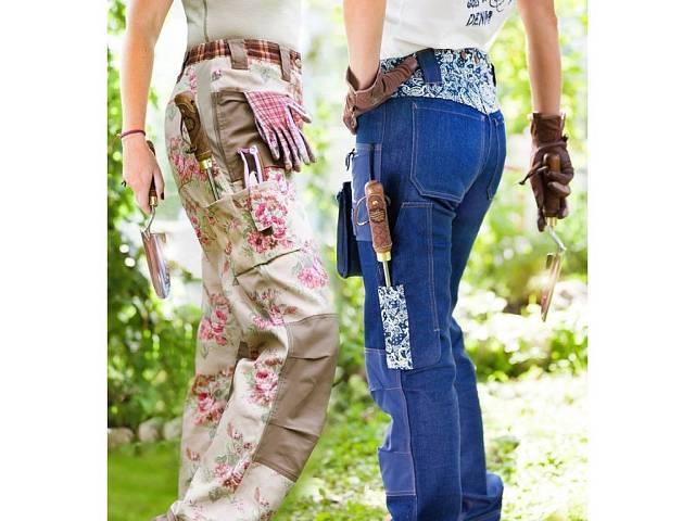 Pracovní kalhoty pro opravdové milovnice květin. Spousta kapes a pevný materiál.