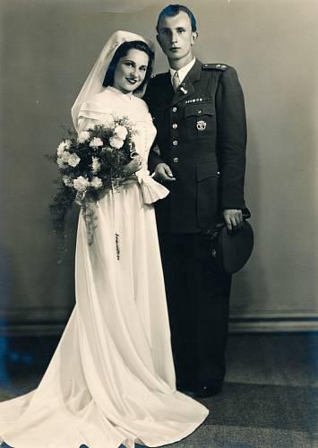 Svatba s Milanem Rackem, 17.9.1949, Brno u Sv. Tomáše
