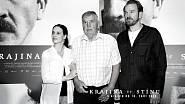 Ferdinand Korbel s představiteli svých rodičů Magdalénou Borovou a Stanislavem Majerem při uvedení filmu Krajina ve stínu