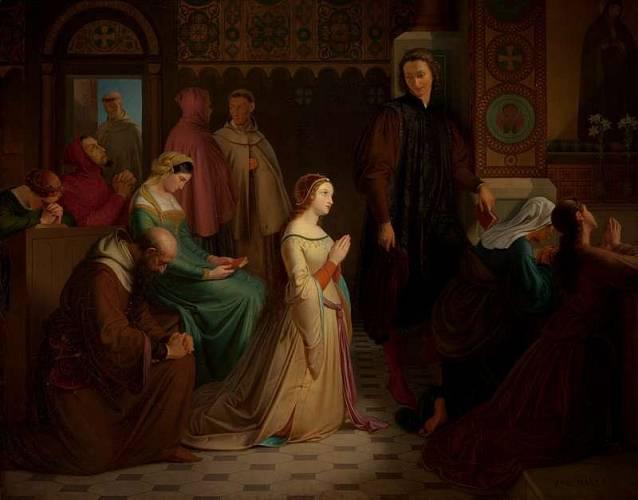 Tohle je taky Josef Mánes z Národní galerie, obraz Setkání Petrarky s Laurou Avignonskou.