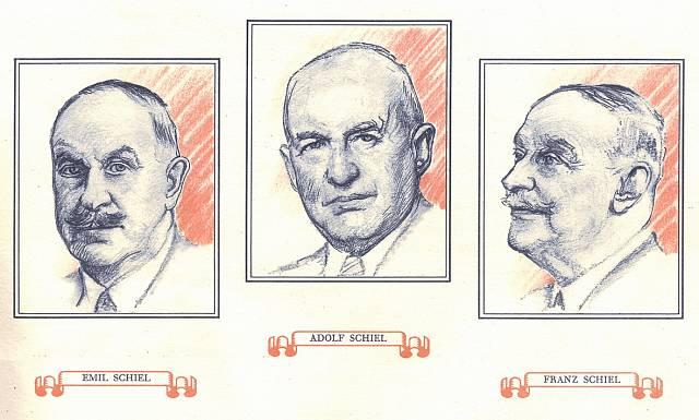 Adolf a Emila František, jeden textilák, druhý ekonom a třetí technik, bratři Schielové, jedni ze zakladatelů naší textilní historie.