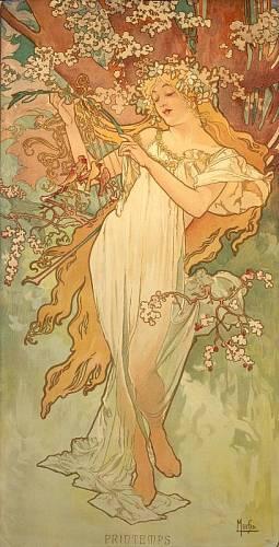 Roku 1896 vytvořil tuhle dívku Jaro Alfons Mucha jako jednu ze série symbolů čtyř ročních období.