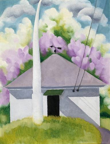 Američanka Georgia O'Keeffe namalovala jarní pohled na jejich dům u jezera George.