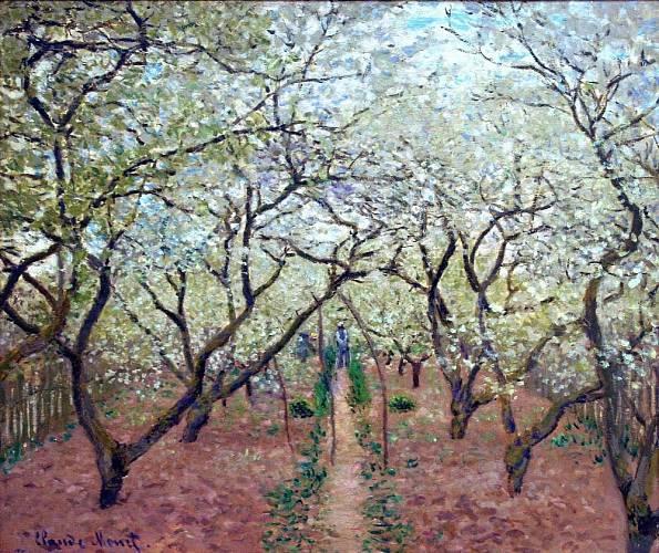 Takhle viděl Kvetoucí sad impresionista Claude Monet.
