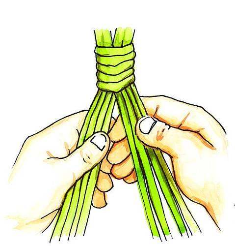 2. Pokud jste dobře utahovali, neměla by se rukojeť rozvázat. Svazek prutů rozdělte na dvě poloviny po čtyřech prutech.