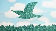Snová představa jarního výjevu podle Reného Magritta.