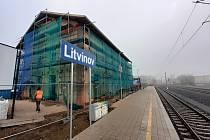 Výstavba dopravního terminálu v ulici Mostecká v Litvínově, kde bude nové autobusové nádraží propojené s rekonstruovanou železniční stanicí a MHD