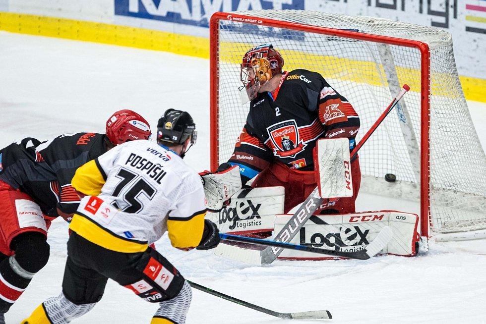 Druhý zápas předkola play off mezi domácím Hradcem a hosty z Litvínova. Východočeši vedou v sérii hrané na tři vítězné duely 2:0.