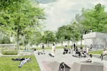 Vizualizace vítězného návrhu na úpravu parku Střed v Mostě.