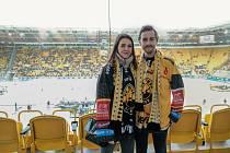 Litvínovský fanoušek Petr Doktor s manželkou na drážďanském Open Air.
