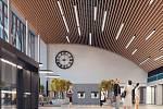 Vizualizace budoucích vnitřních prostor budovy mosteckého vlakového nádraží.