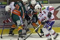 Utkání první hokejové ligy play out mezi Třebíčí a Mostem. Třebíč vyhrála 5:0.