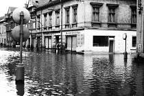Povodeň ve starém Mostě v prosinci roku 1974.