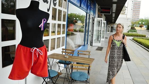 Před kavárnou The Most café v centru Mostu se objevila figurína s červnenými trenýrkami a trikolorou.