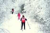 Zima v Mostě, lyžování na Benediktu. 8. února 2021