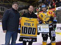 Litvínov versus Mladá Boleslav. Pro kanonýra Vervy Viktora Hübla to byl 1000. zápas v extralize.