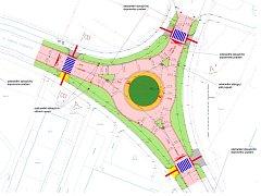 Projekt rekonstrukce křižovatky Lipová - Topolová - Štěpánka v Mostě, kde má být kruhový objezd.