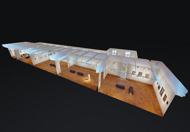 3D model výstavy Kachle sedmi století vchomutovském muzeu.