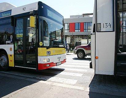 Řidiči autobusů jsou nuceni  stavět v blízkosti přechodů nebo přímo na nich. Zákon to ale zakazuje.