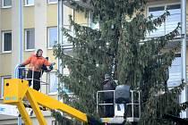 Zdobení vánočního stromu a příprava mobilního kluziště v Mostě