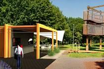 Schválená vizualizace ukazuje budoucí podobu nového zázemí Fun parku v Mostě.