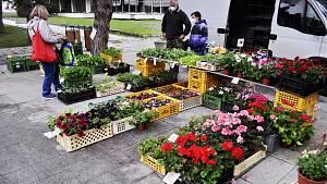 První trh v Radničním parku v Mostě. Nahradil ten sobotní u Kosmosu.