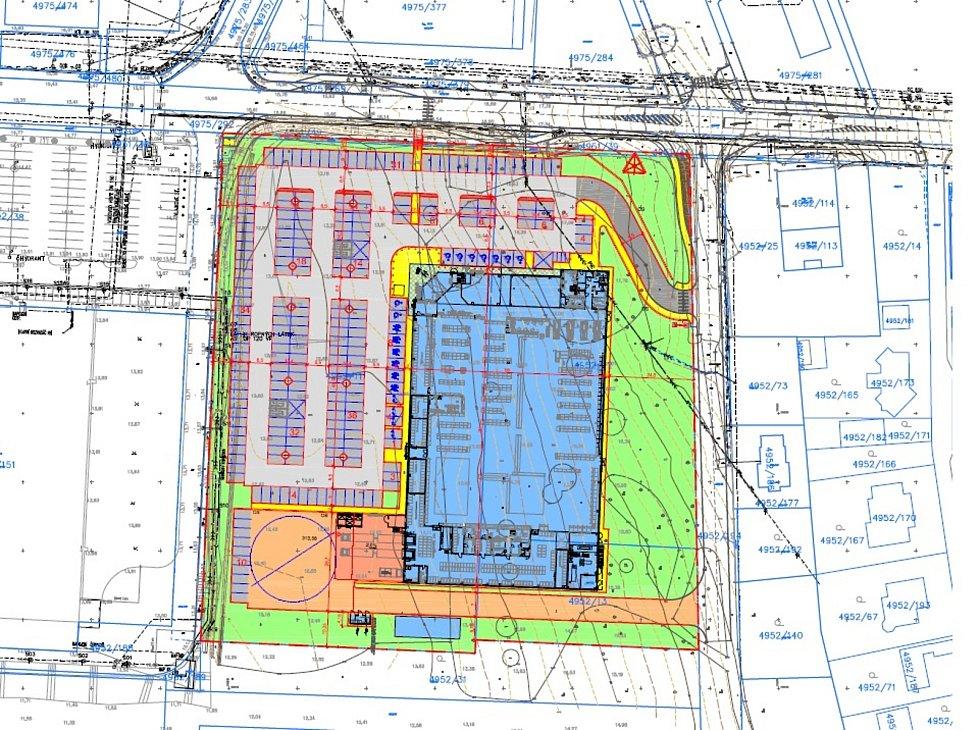 Plán nového Kauflandu mezi Baumaxem a rodinnými domy v Mostě.