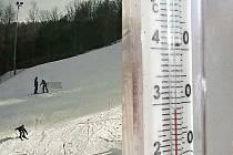 Zatímco na Klínech se v neděli lyžovalo, v Mostě ukazoval teploměr na sluníčku 29 stupňů Celsia.