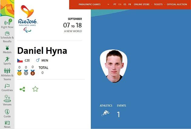 Profil Daniela Hýny na oficiálním webu Paralympisjkých her 2016.