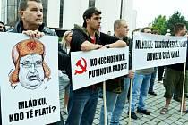 Loňská demonstrace horníků v Mostě.