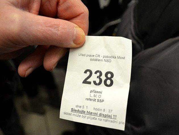 Pořadové číslo na oddělení sociálních dávek v Mostě.