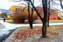 Park u kina Kosmos v Mostě se má nahradit parkovištěm pro 160 aut. V minulosti město vybudovalo u kina desítky míst pro auta a vybudovalo kvůli nim i silnici, která zabrala část širokého chodníku mezi kinem a 11. ZŠ.
